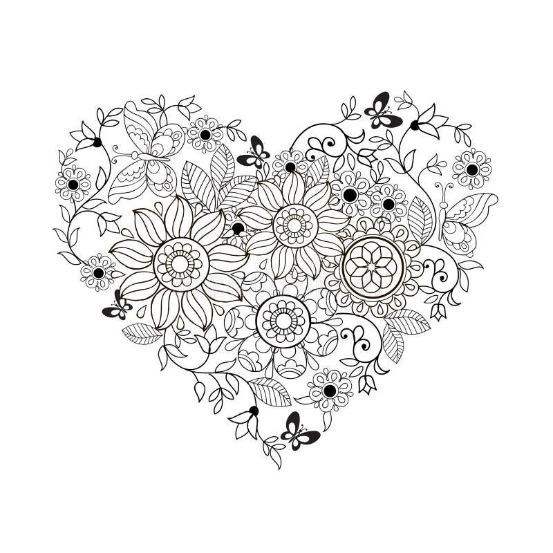 Hjärta av blommor och fjärilar för färgläggningböcker för vuxna människor och äldre barn vektor illustrationer