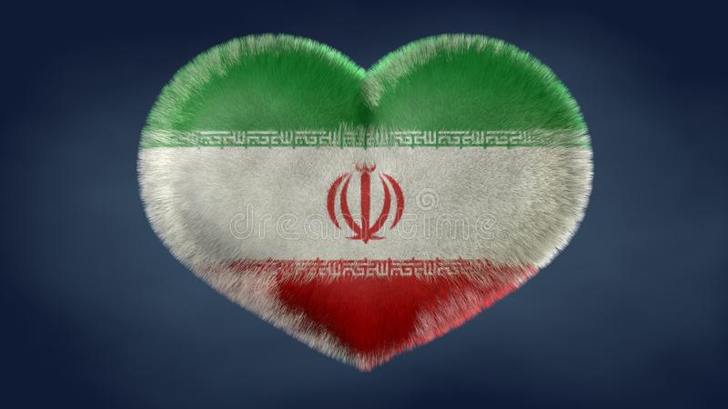 Hjärta av den Iran flaggan stock illustrationer