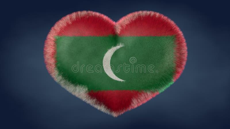Hjärta av den Maldiverna flaggan vektor illustrationer