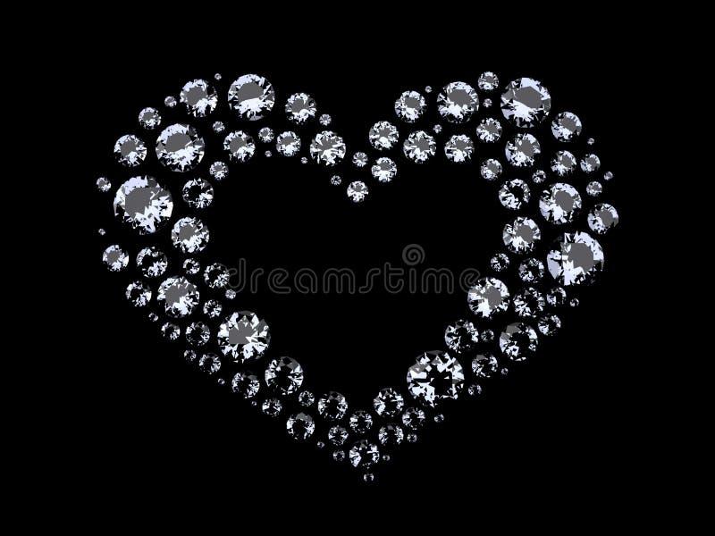 Hjärta av diamanter stock illustrationer