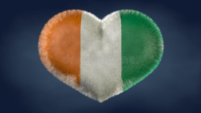 Hjärta av Elfenbenskustenflaggan royaltyfri illustrationer