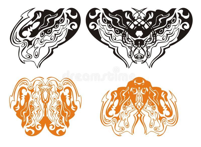 Hjärta av en drake och en drakefjäril royaltyfri illustrationer