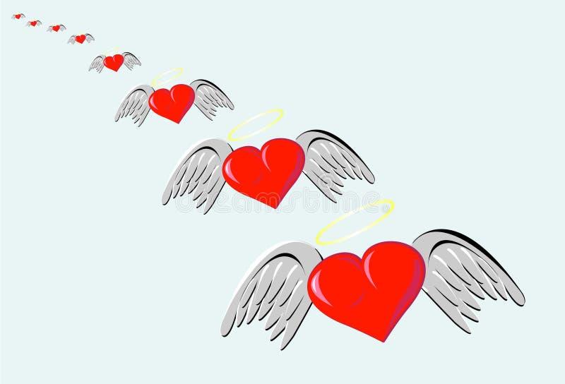 Hjärta av förälskelse med vingar royaltyfri illustrationer