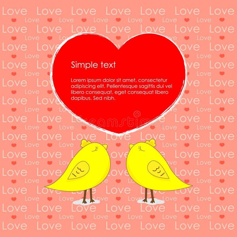Hjärta av feg bakgrund för förälskelse och för guling royaltyfri illustrationer
