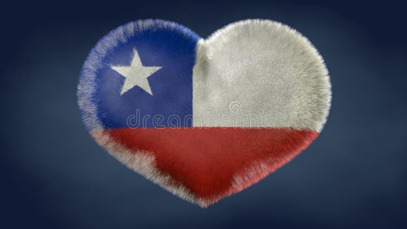 Hjärta av flaggan av Chile stock illustrationer