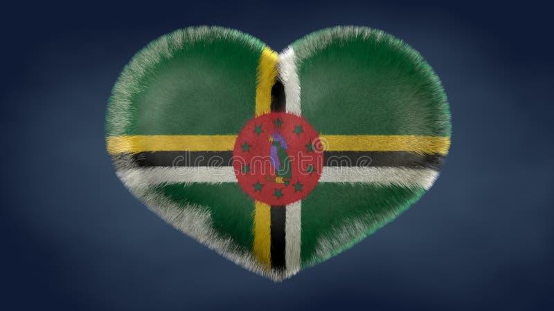 Hjärta av flaggan av Dominica vektor illustrationer