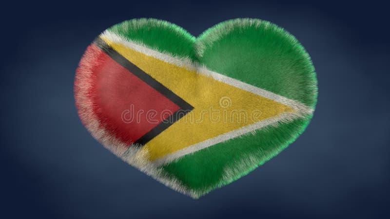 Hjärta av flaggan av Guyana royaltyfri illustrationer