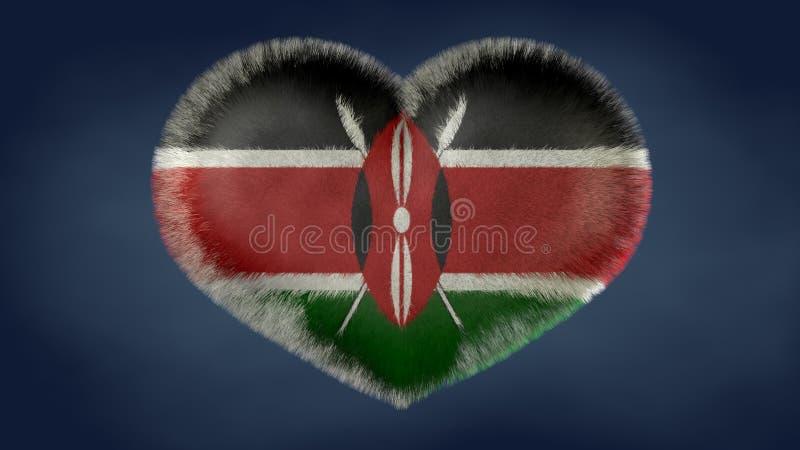 Hjärta av flaggan av Kenya vektor illustrationer