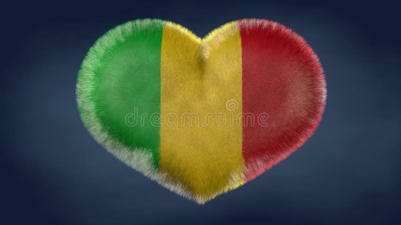 Hjärta av flaggan av Mali royaltyfri illustrationer