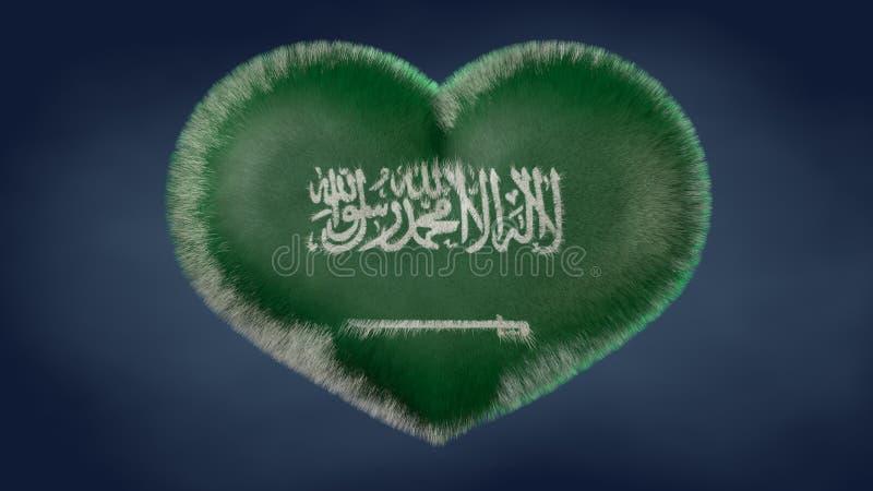 Hjärta av flaggan av Saudiarabien stock illustrationer