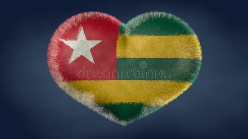 Hjärta av flaggan av Togo stock illustrationer