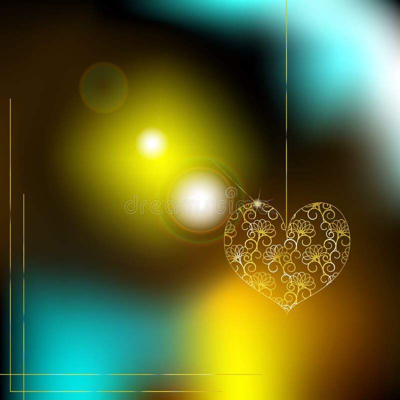 Hjärta av guld på en bakgrund av suddiga ljus royaltyfri illustrationer