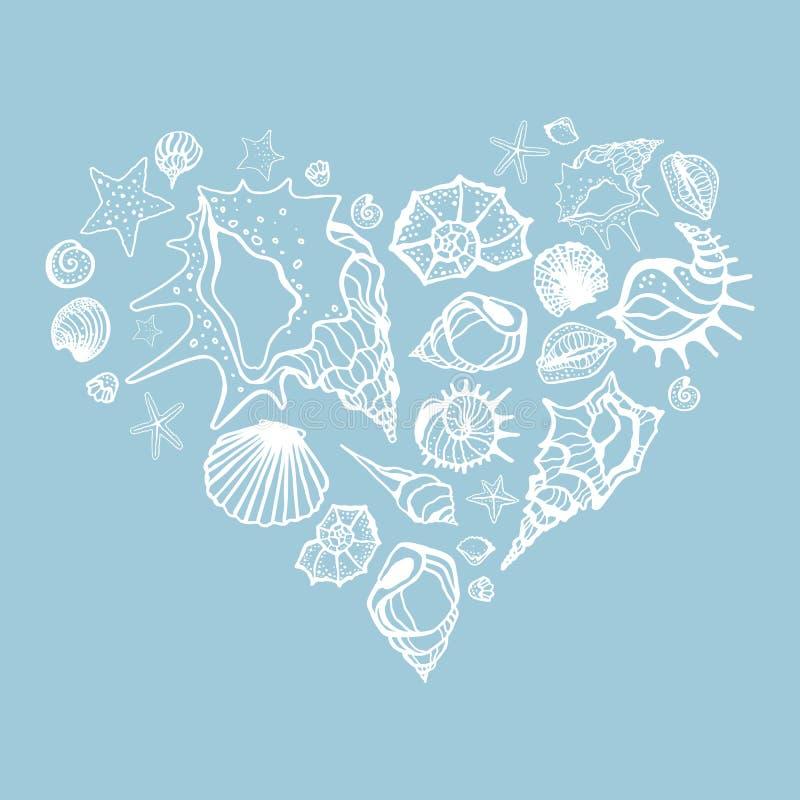 Hjärta av havsskal vektor illustrationer