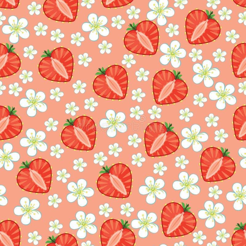Hjärta av jordgubben och blommor. Sömlös modell stock illustrationer