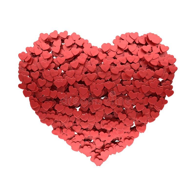Hjärta av många små hjärtor royaltyfri illustrationer