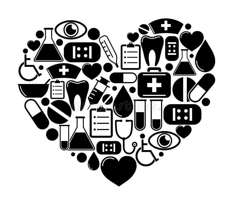 Hjärta av medicinska symboler royaltyfri illustrationer