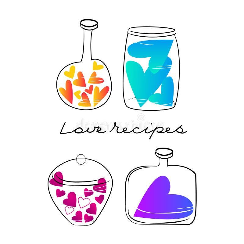 Hjärta av olika färger i exponeringsglasskyttlar Begreppsförälskelserecept valentin för dag s stock illustrationer
