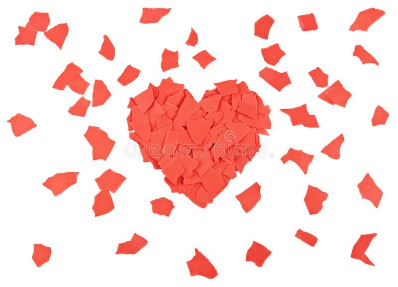 Hjärta av pappers- rester arkivbilder