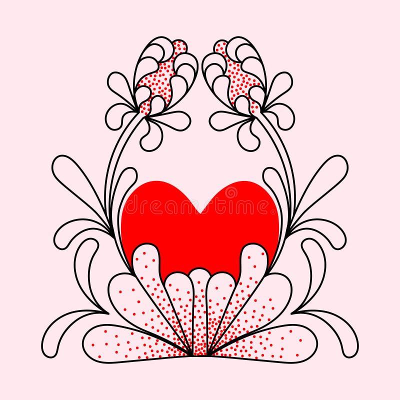 Hjärta av primitiva dekorativa blommor vektor illustrationer
