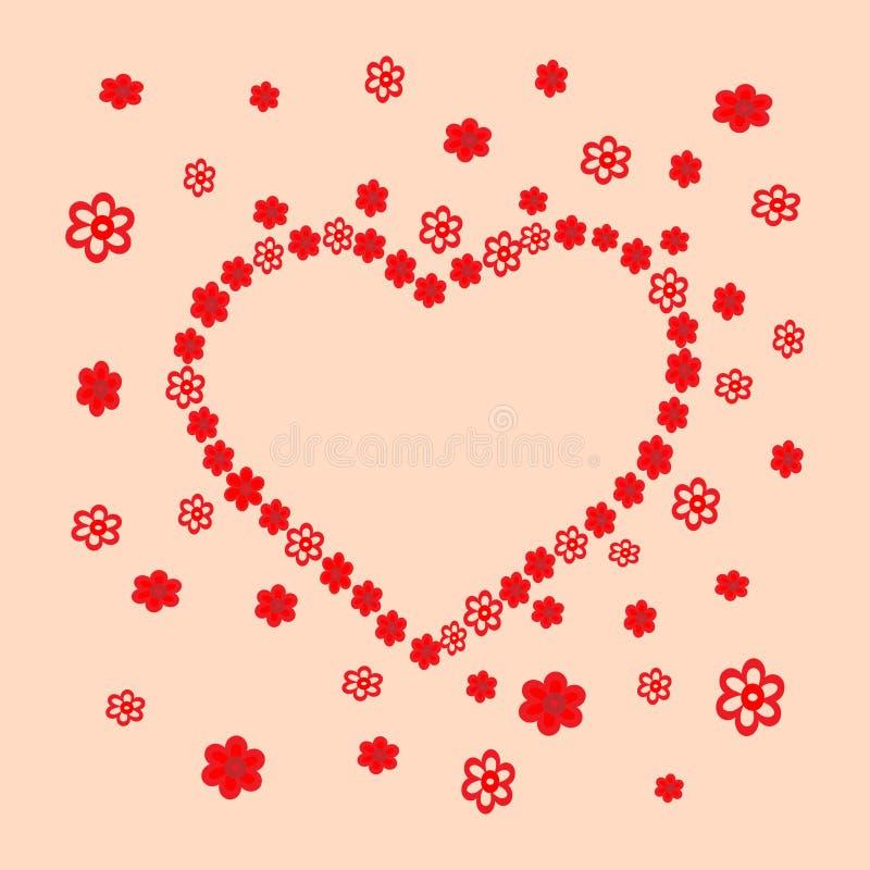 Hjärta av primitiva dekorativa blommor royaltyfri illustrationer