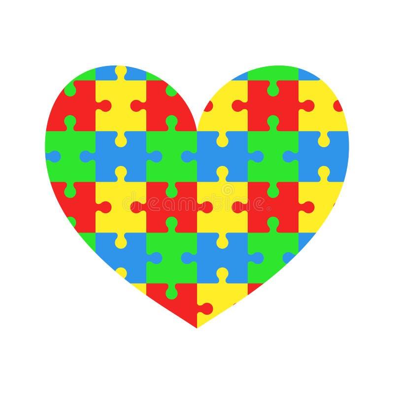 Hjärta av pussel Jigsaw Dag för världsautismmedvetenhet vektor illustrationer