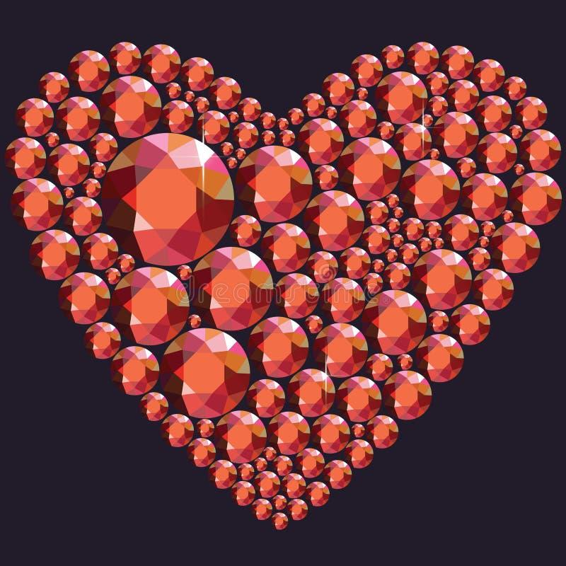 Hjärta av röda bergkristaller vektor illustrationer