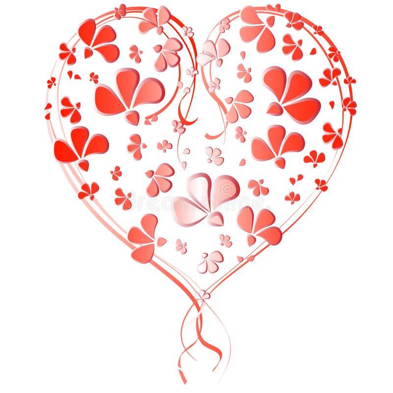 Hjärta av små och stora röda blommor stock illustrationer