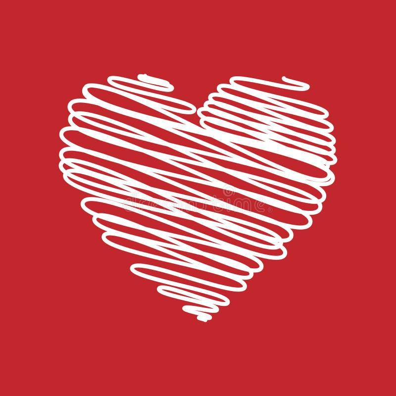 Hjärta - blyertspennan klottrar skissar teckningen i vit på röd bakgrund Begrepp för valentinkortklotter också vektor för coreldr royaltyfri illustrationer