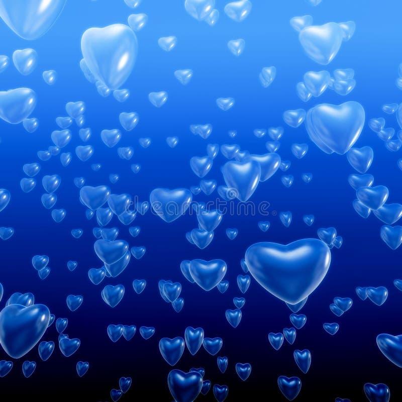 Hjärta bubblar undervattens- stock illustrationer