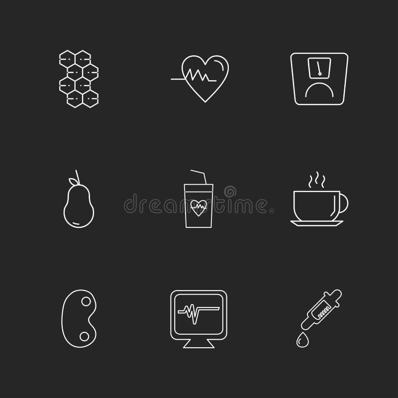 hjärta ecg, droppglass, njure, te, frukter, hälsa, kondition royaltyfri illustrationer