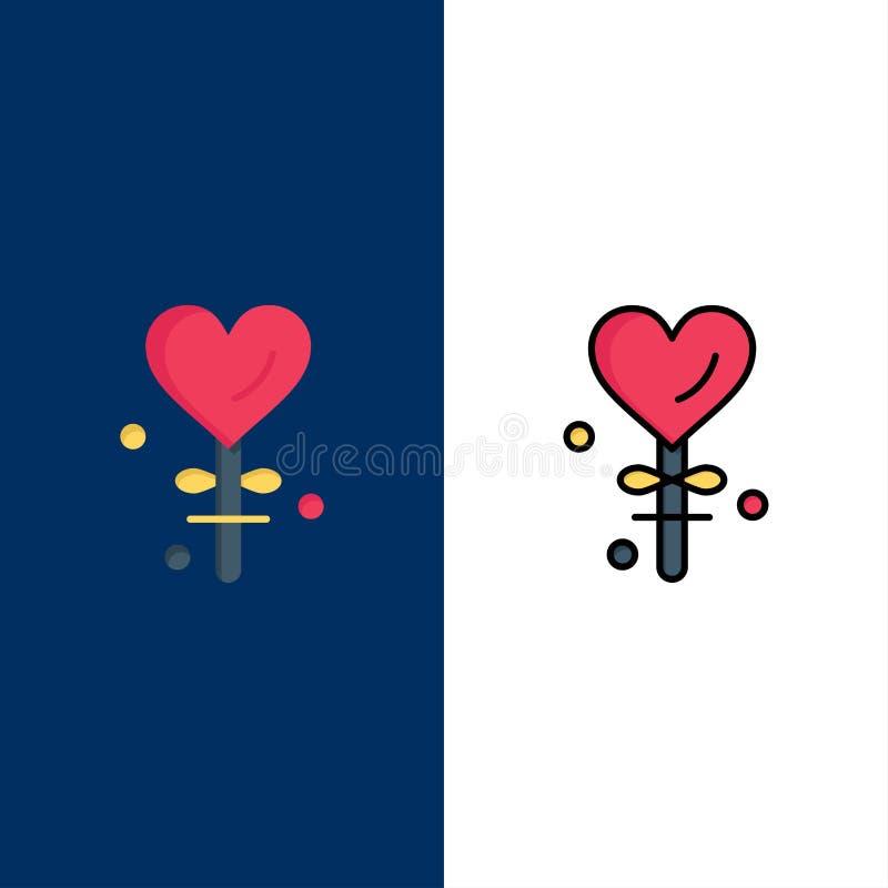 Hjärta förälskelse, Valentine's dag, valentin, symboler Lägenheten och linjen fylld symbol ställde in blå bakgrund för vektorn vektor illustrationer