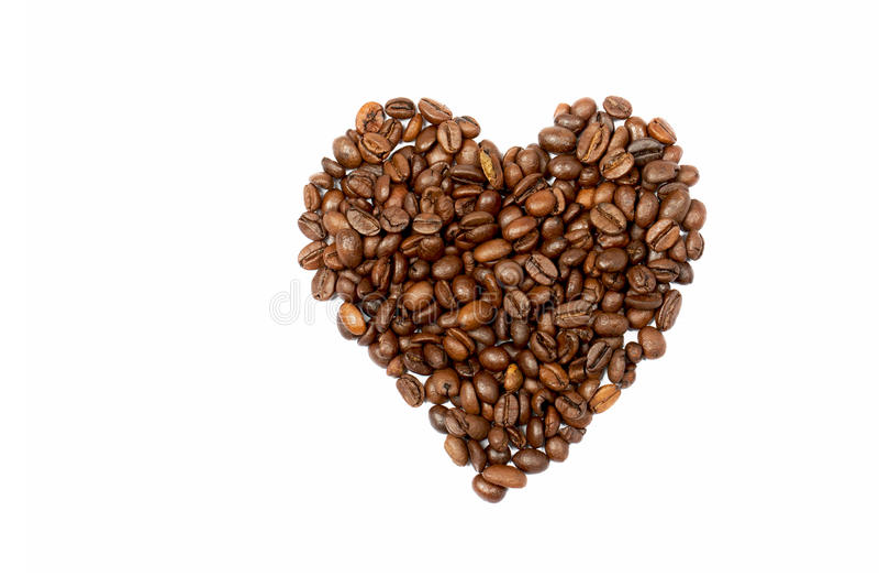 hjärta för bakgrundsbönakaffe gjorde white royaltyfria foton