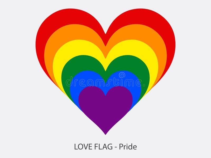 Hjärta för förälskelseflaggastolthet stock illustrationer
