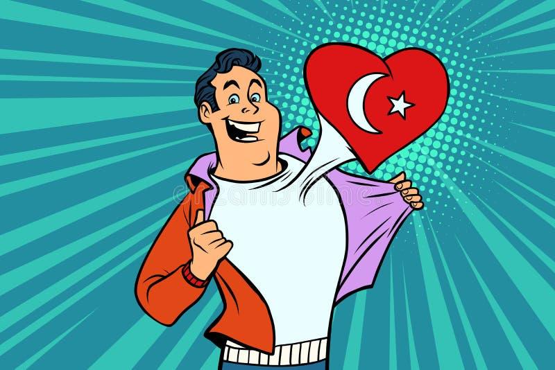 Hjärta för flagga för fan för sportar för Turkiet patriot manlig vektor illustrationer