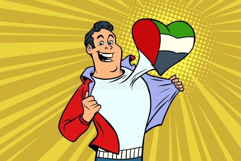 Hjärta för flagga för fan för sportar för UAE-patriot manlig stock illustrationer