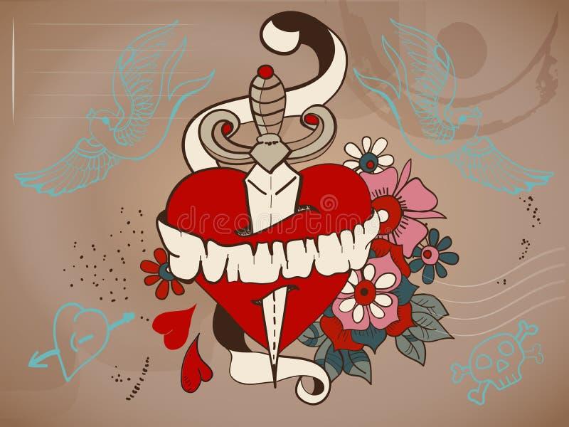 hjärta för Gammal-skola stiltatuering med blommor och dolken, valentin royaltyfri illustrationer
