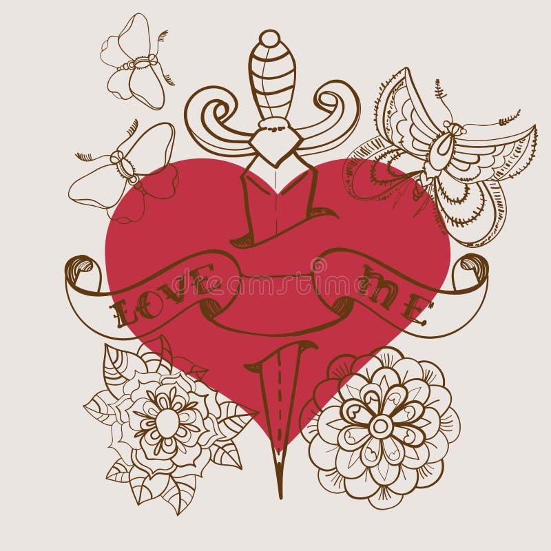 hjärta för Gammal-skola stiltatuering med blommor och dolken, valentin stock illustrationer