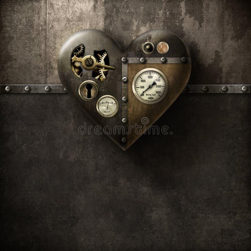 Hjärta för Grungemetallsteampunk på trä-/metallbakgrund royaltyfri illustrationer