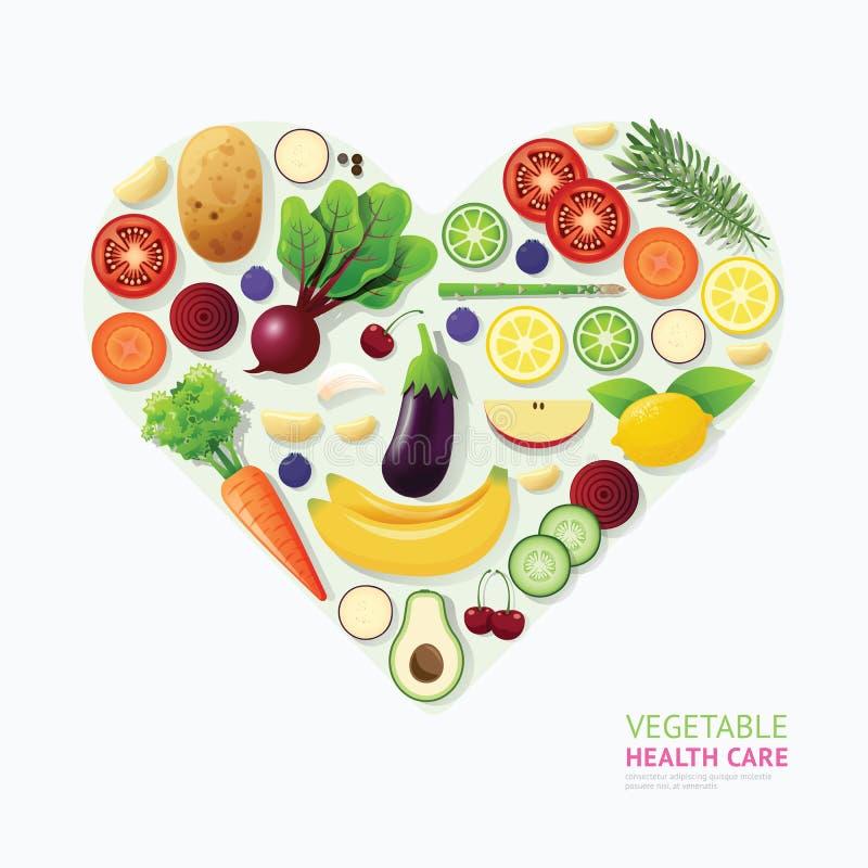 Hjärta för hälsovård för Infographic grönsak- och fruktmat formar stock illustrationer