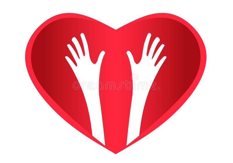 Hjärta för hjälpande händer royaltyfri illustrationer