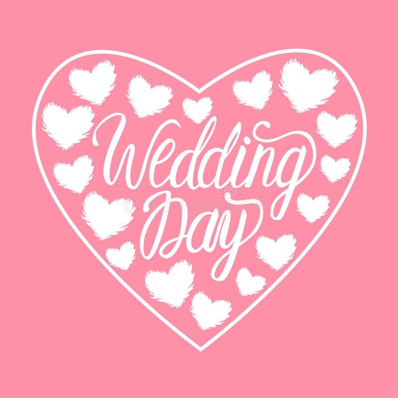 Hjärta för illustration för vektorbröllopdag vit med hjärta som isoleras på rosa bakgrund Bokstäverinskrifter royaltyfri illustrationer