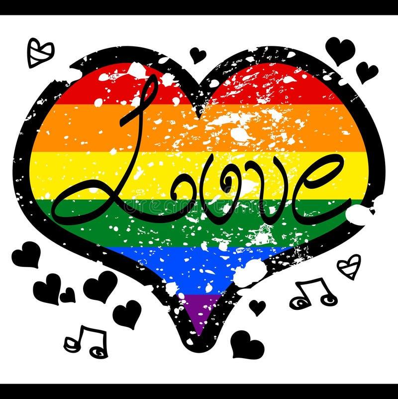 Hjärta för LGBT-förälskelseregnbåge stock illustrationer