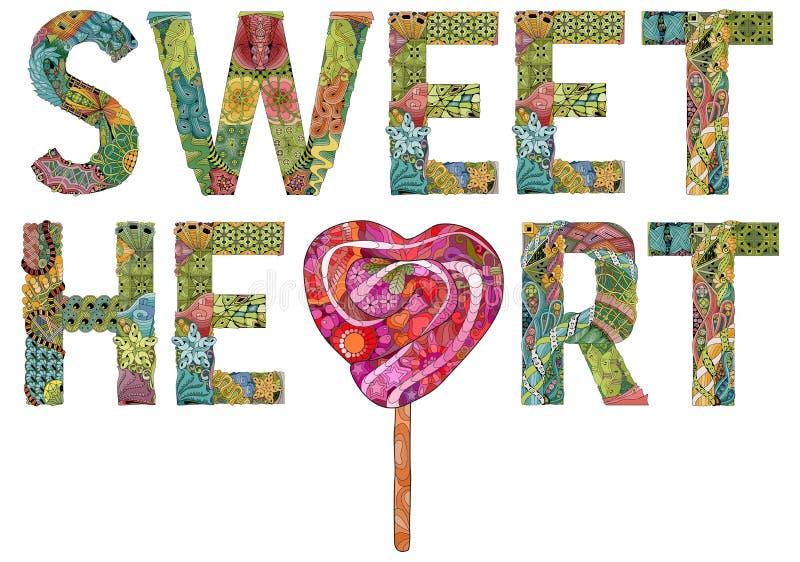 HJÄRTA för ord SWEEET med klubban, dekorativt zentangleobjekt stock illustrationer