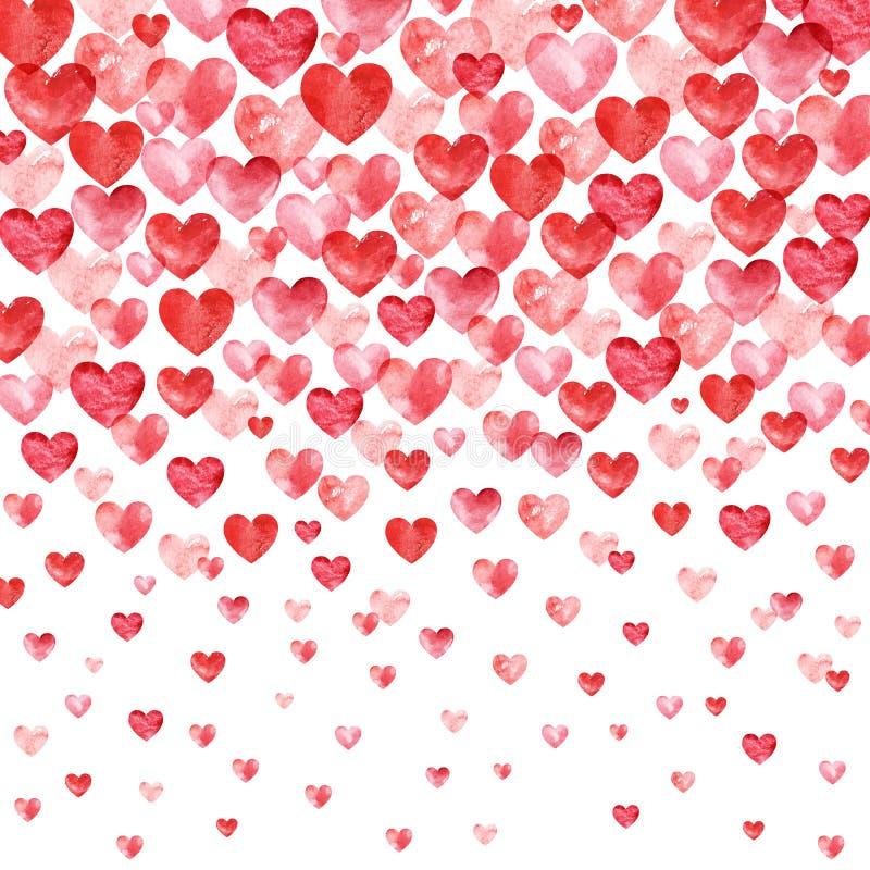 Hjärta för två rosa färg Röd vattenfärghjärtabakgrund med fallande hjärtor vektor illustrationer