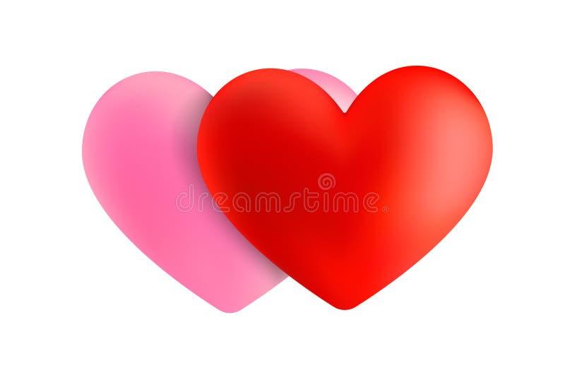 Hjärta för vektor som 3D isoleras på vit Hjärta för dag för valentin` s röd och rosa färghjärta Härlig hjärtaillustration vektor illustrationer