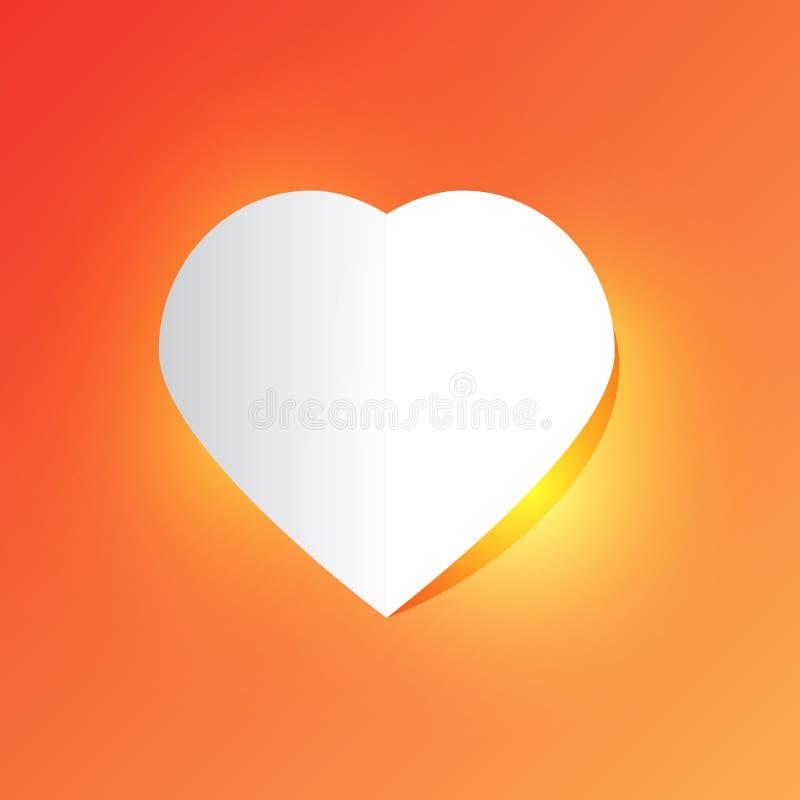 Hjärta för vitboksnittförälskelse för dag för valentin` s på rosa orange bakgrund med ljus vektor illustrationer