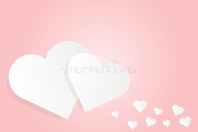 Hjärta för vitboksnittförälskelse på den rosa designen för bakgrundsvektorillustration för dag för valentin` s, bröllopkort, förä stock illustrationer