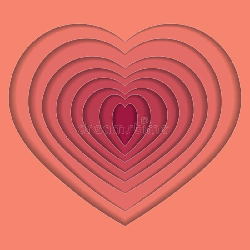 Hjärta för volympapperssnitt också vektor för coreldrawillustration 10 eps vektor illustrationer