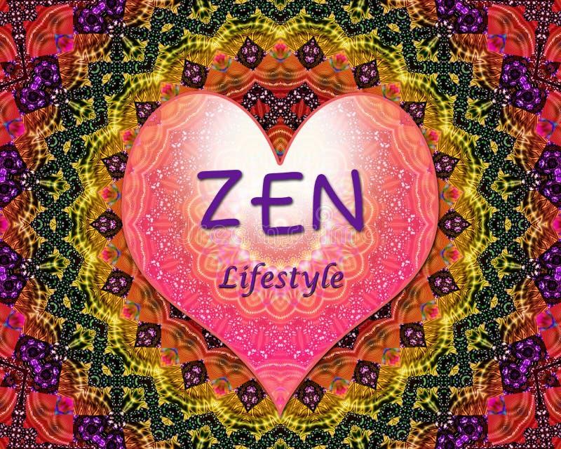 Hjärta för Zenlivsstilförälskelse vektor illustrationer