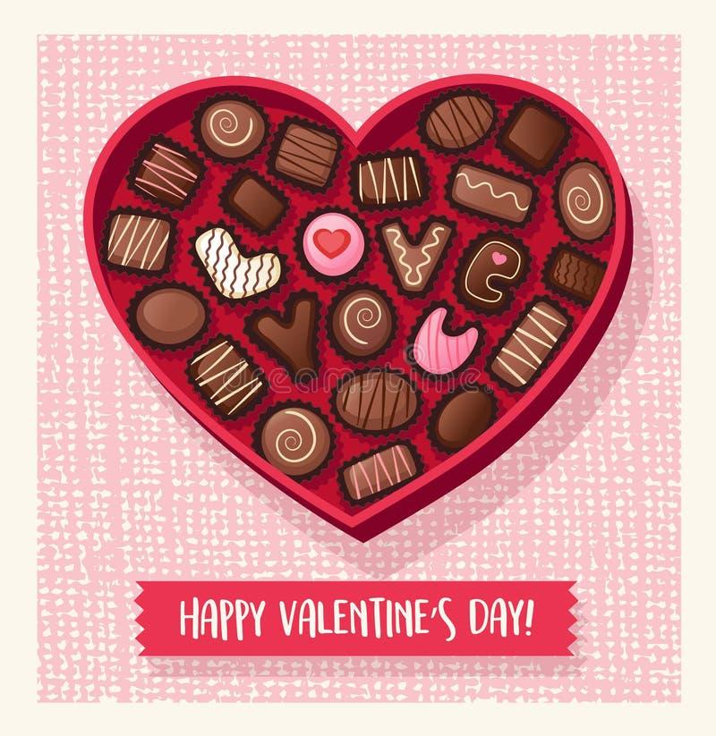 Hjärta formad ask för valentindaggodis med choklader vektor illustrationer